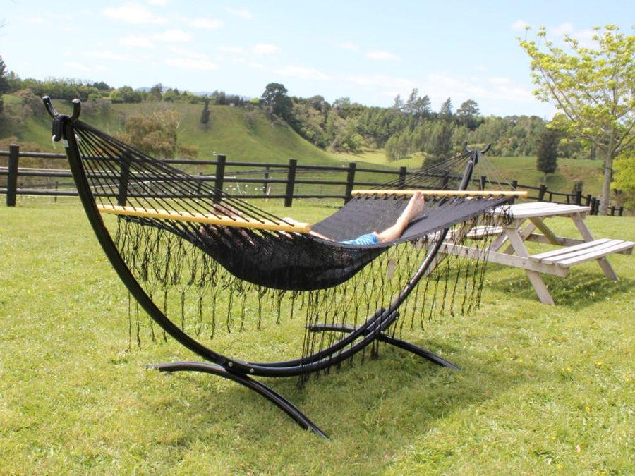 Spreader Bar Resort Style Hammock - Black Polyester