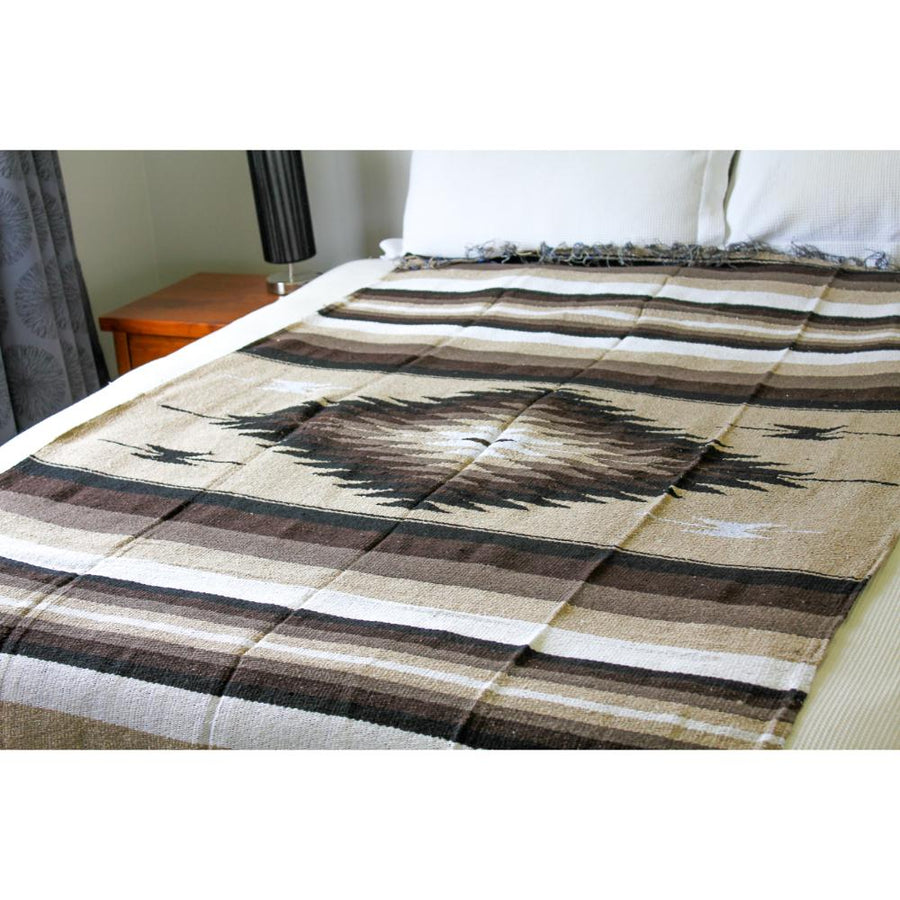Brown and Beige Mexican Diamond Blanket