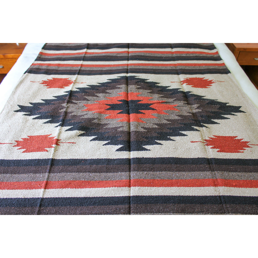 Saltillo Blanket - Mexican Diamond Centre Woven Heavyweight Blanket
