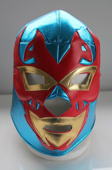 Blue, red and gold Mexican wrestling mask
