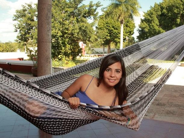 Mexican black and white cotton hammock