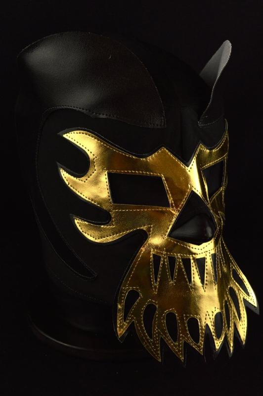 Black and Gold Lucha Libre Mask