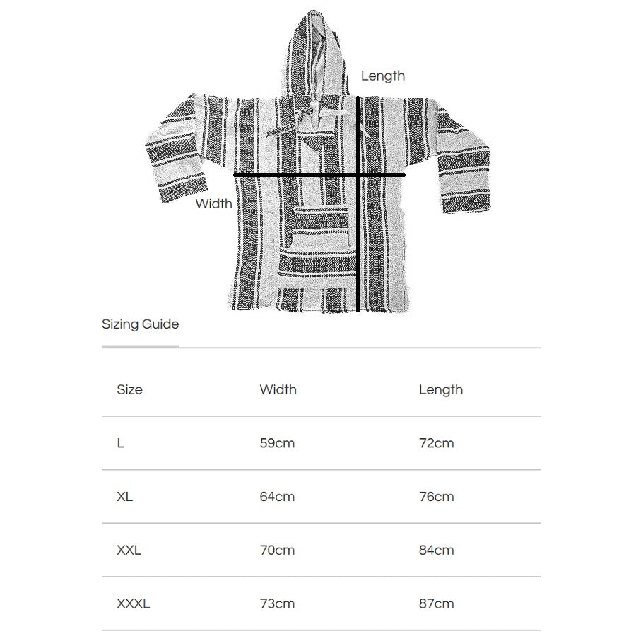 Baja Hoodies NZ - Size Guide