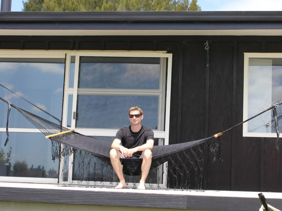 Black Cotton Bar Hammock - Mexican Handmade