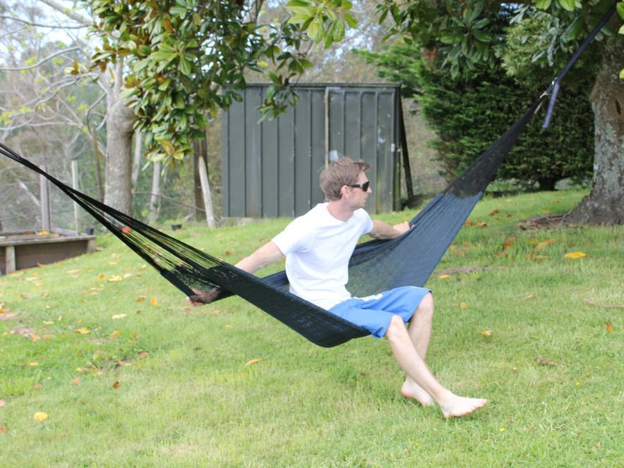 Mexican Hammock - Black Cotton - Handwoven