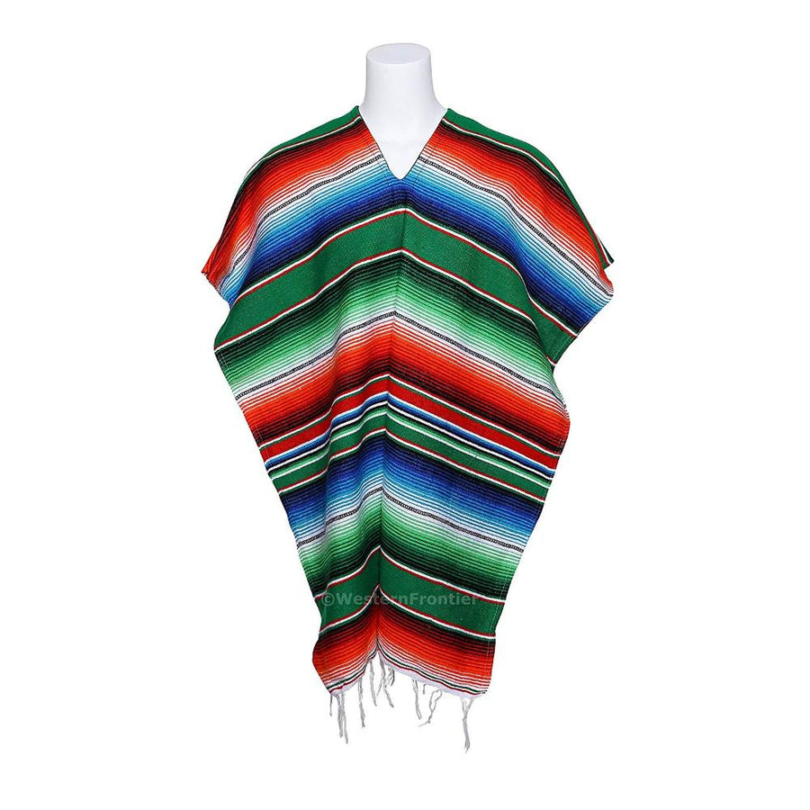 Green Mexican Sarape Poncho
