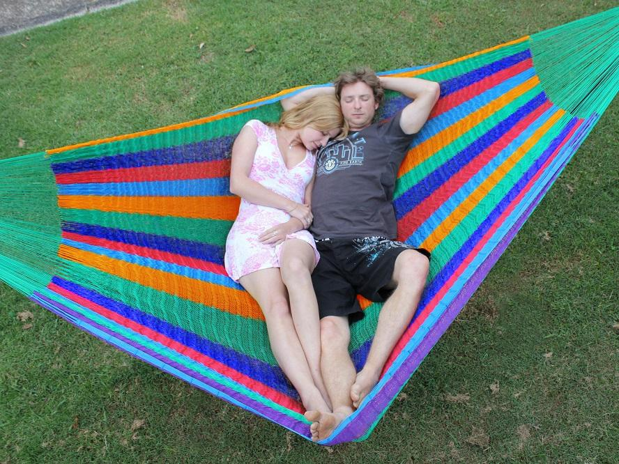 Striped woven Mexico hammock
