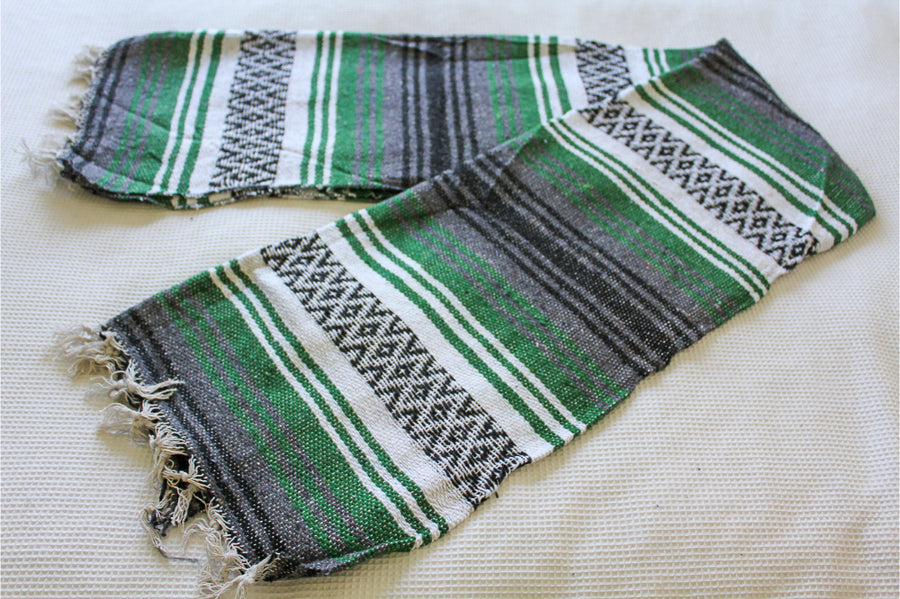 Mexican Striped Falsa Blanket - Handloomed in Green, white, black and grey colours