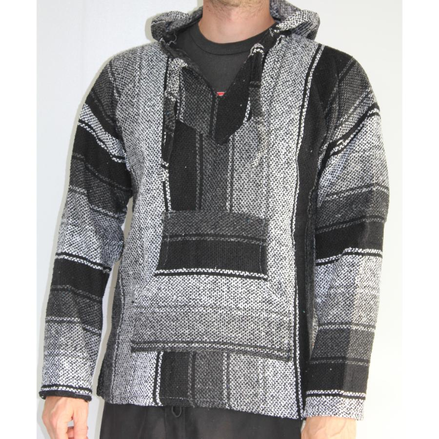 Grey, black and white Baja hoodie