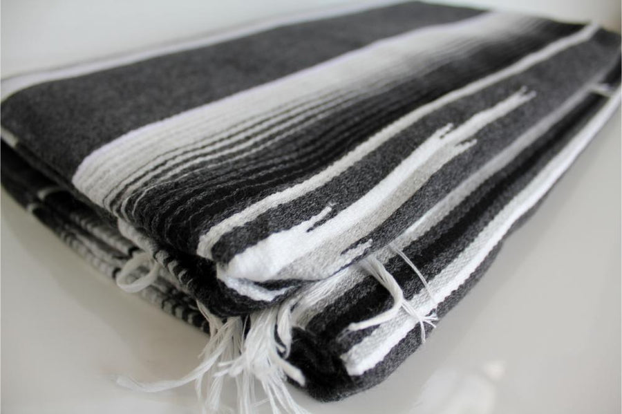 Striped Grey, Black and White Blanket