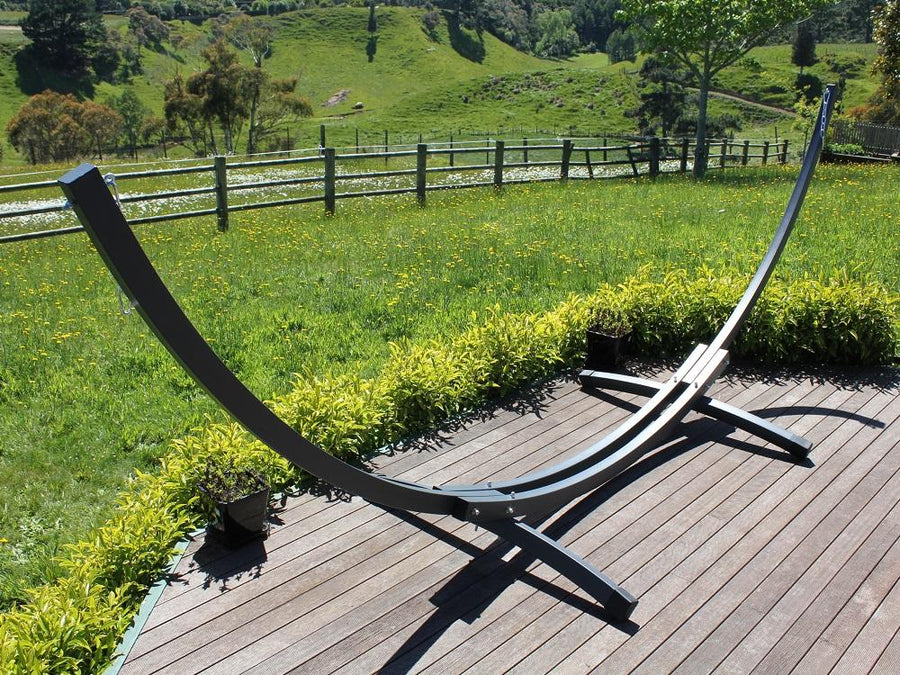 Curved Grey Metal Hammock Stand