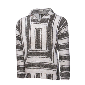 Black and White Striped Mexican Hoodie