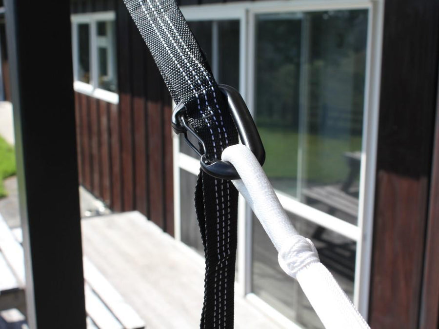 Straps and Carabiners for Hanging a Hammock
