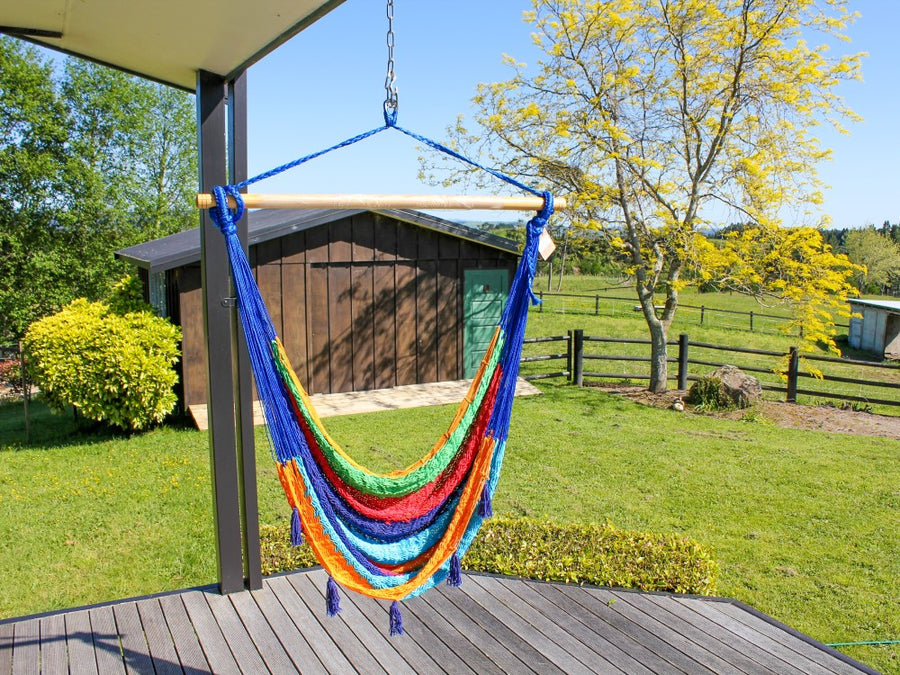 Woven Mexican Chair Hammock - Rainbow - Cotton
