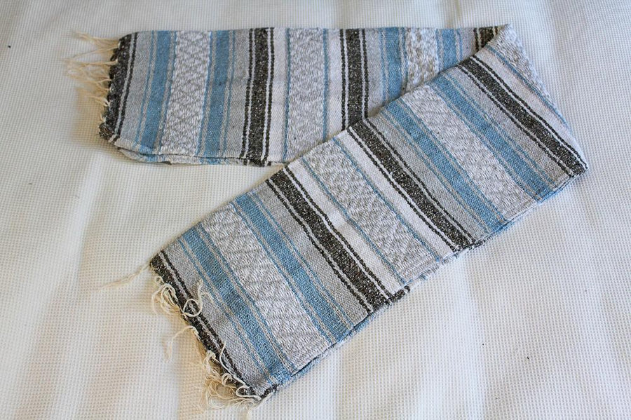 Light blue and grey Mexican blanket