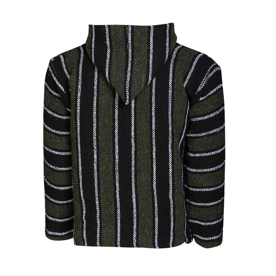 Black and Green Striped Mexican Baja Hoodie