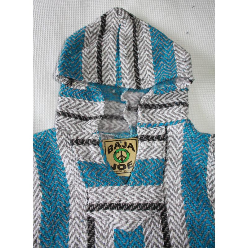 Hoodie top - Mexican Baja Poncho - Blue, Black, White