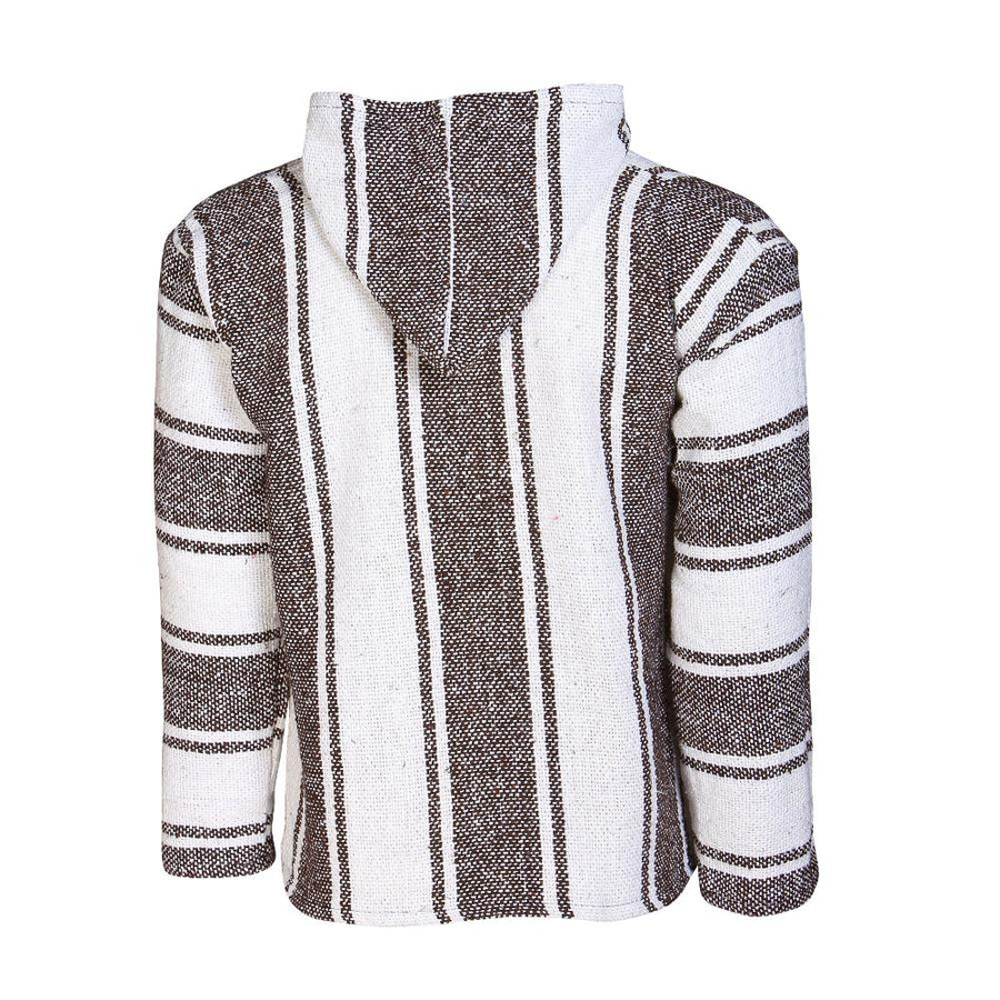 Striped Brown and White Hoodie - Mexican Style