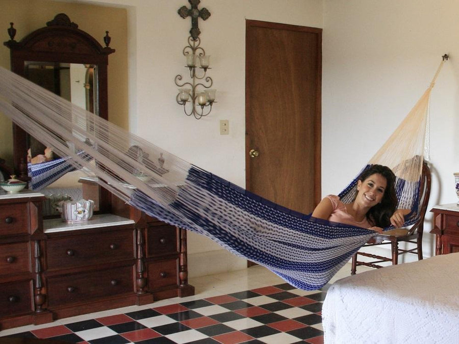 Blue and White Mexican Handmade Hammock
