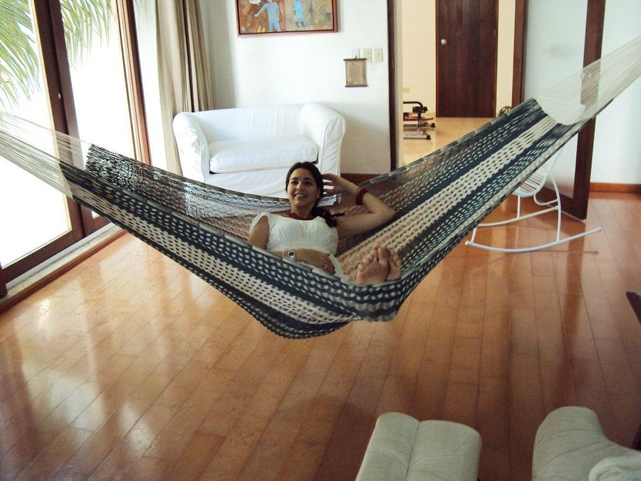 Living room hammock - Mexican woven cotton