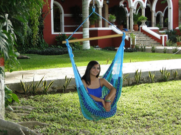 Woven blue and green Mexican hanging chair