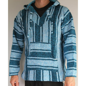Light blue Mexican poncho surf hoodie