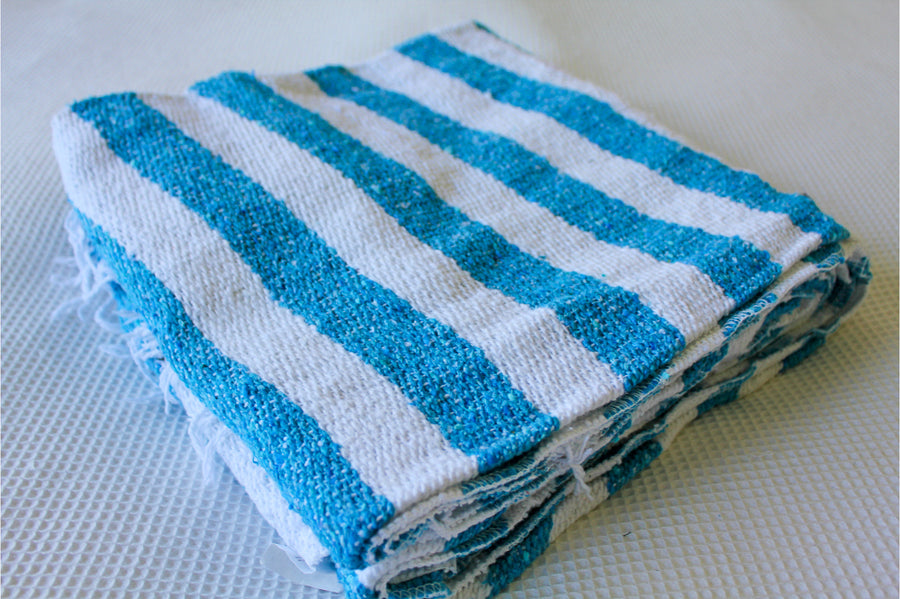 Blue and White Folded Mexican Yoga Blanket