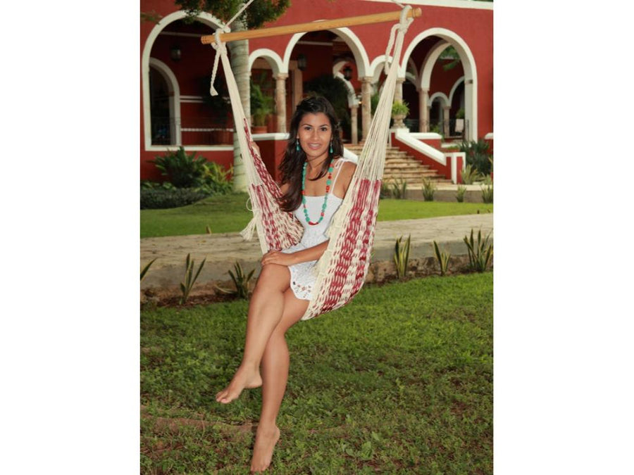 Mexican White and Maroon Chair Hammock - Cotton