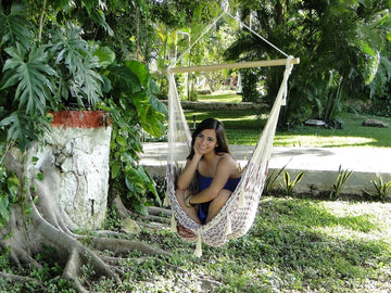 Maroon and White Mexican Chair Hammock