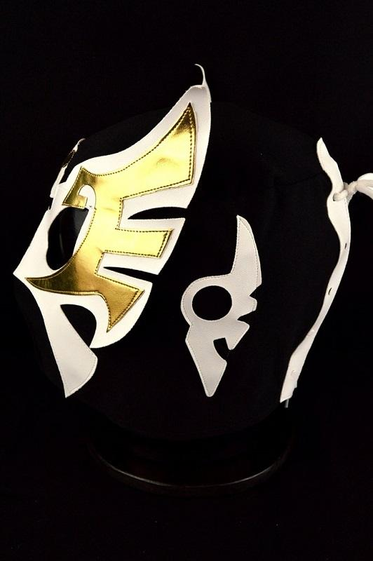 Mask Mexican Wrestling - Black, White, Gold