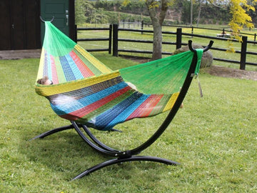 Metal Arc hammock stand with queen coral hammock