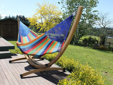 Rainbow hammock and metal hammock frame