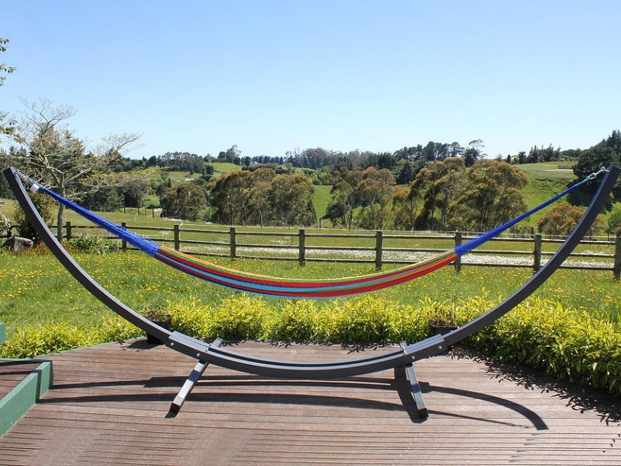 Hammock and Grey Curved Metal Stand Package