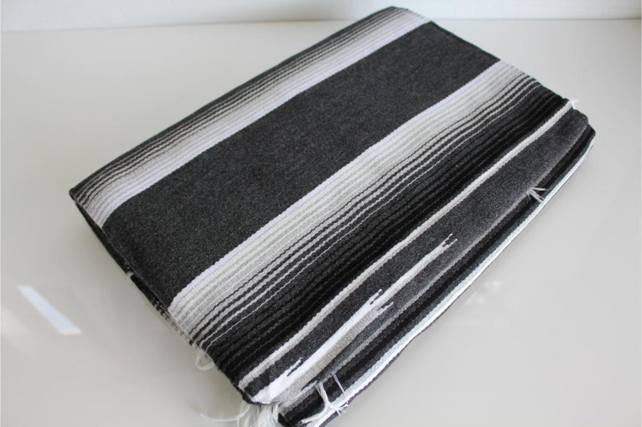 Mexican Striped Grey Sarape Blanket