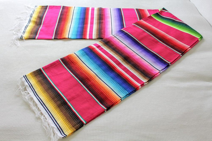 Mexican Striped Sarape Blanket - Pink