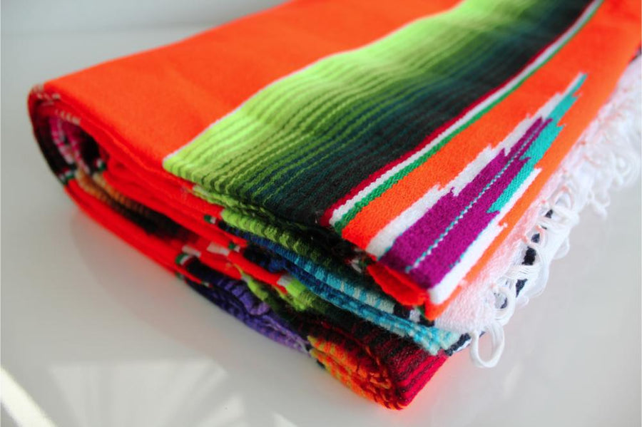 Bright Orange Mexican Sarape Blanket