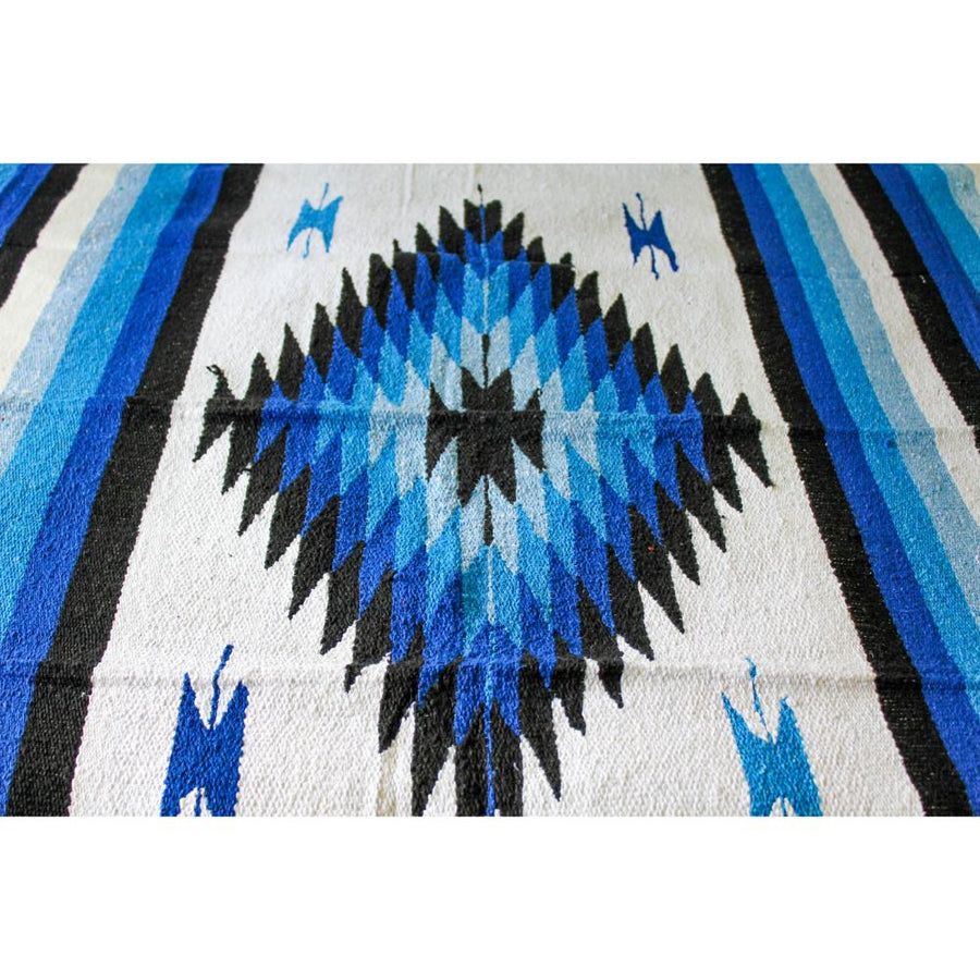 Saltillo Blanket - Blue and White