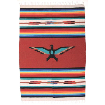 Mexican Made Western Style Blanket - Thunderbird - Terracotta