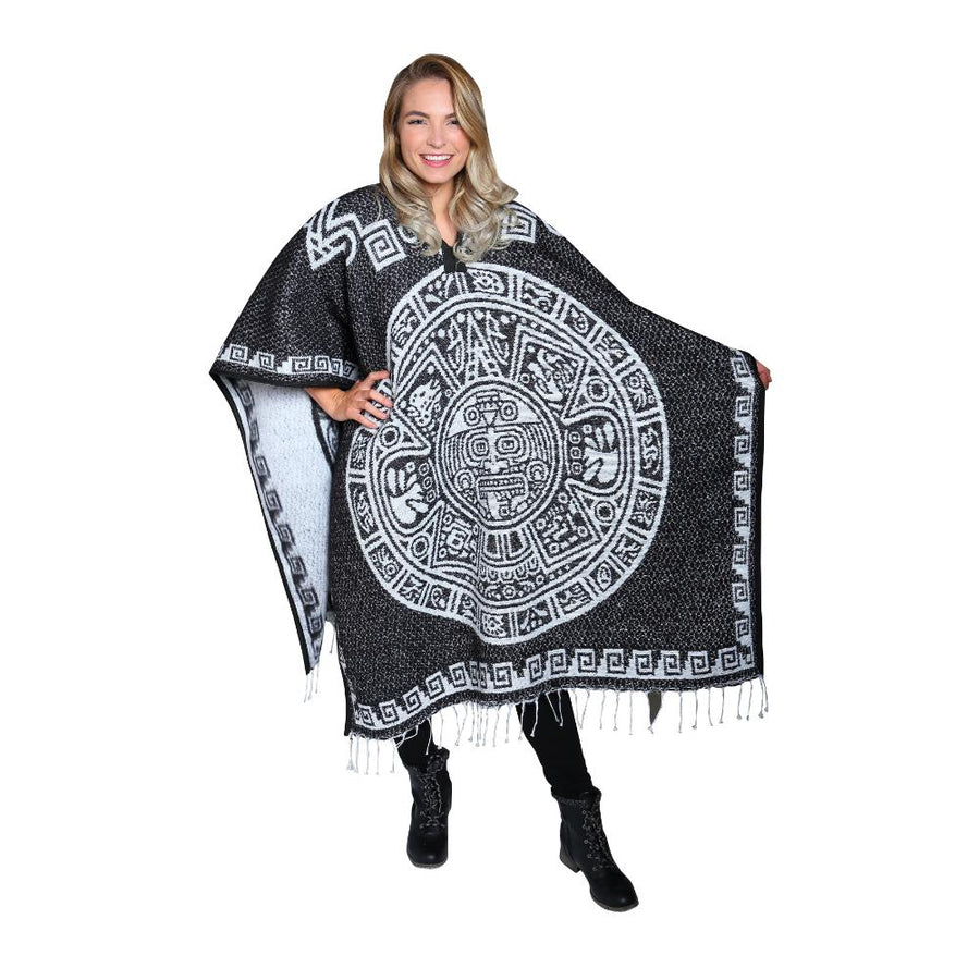 Black and White Poncho - Made in Mexico