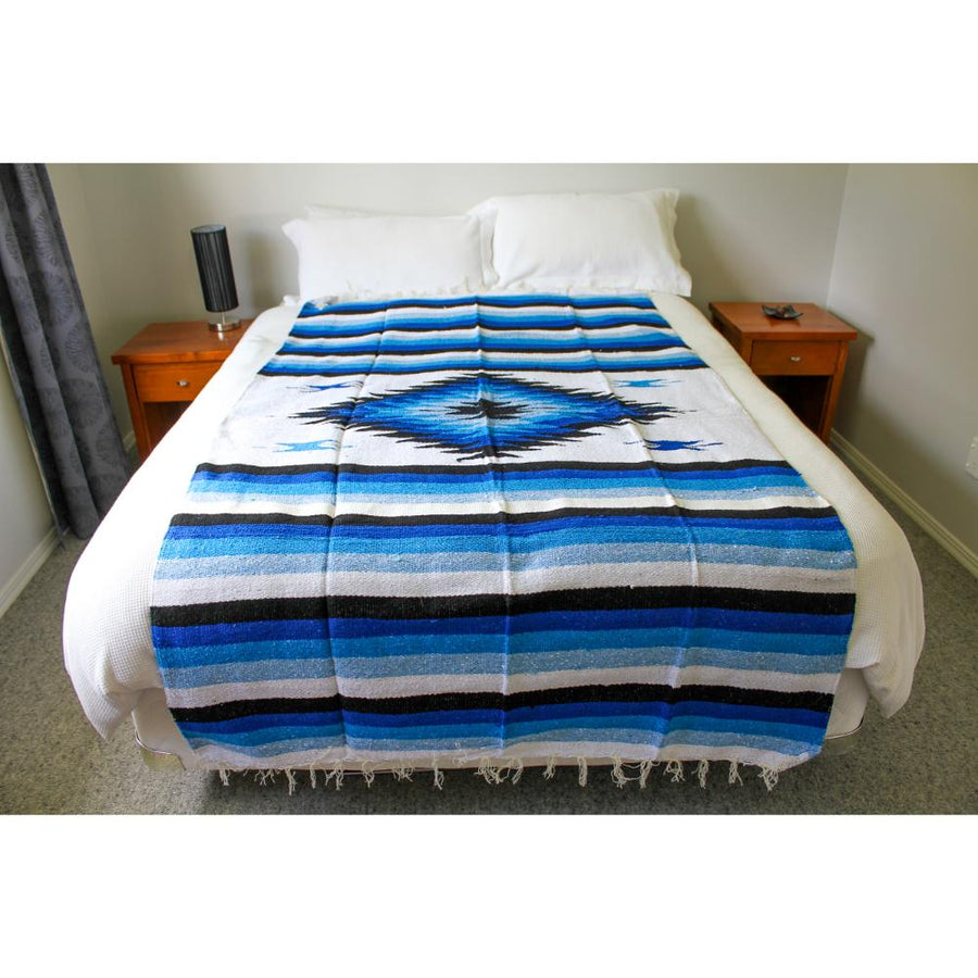 Blue and White Blanket with diamond centre
