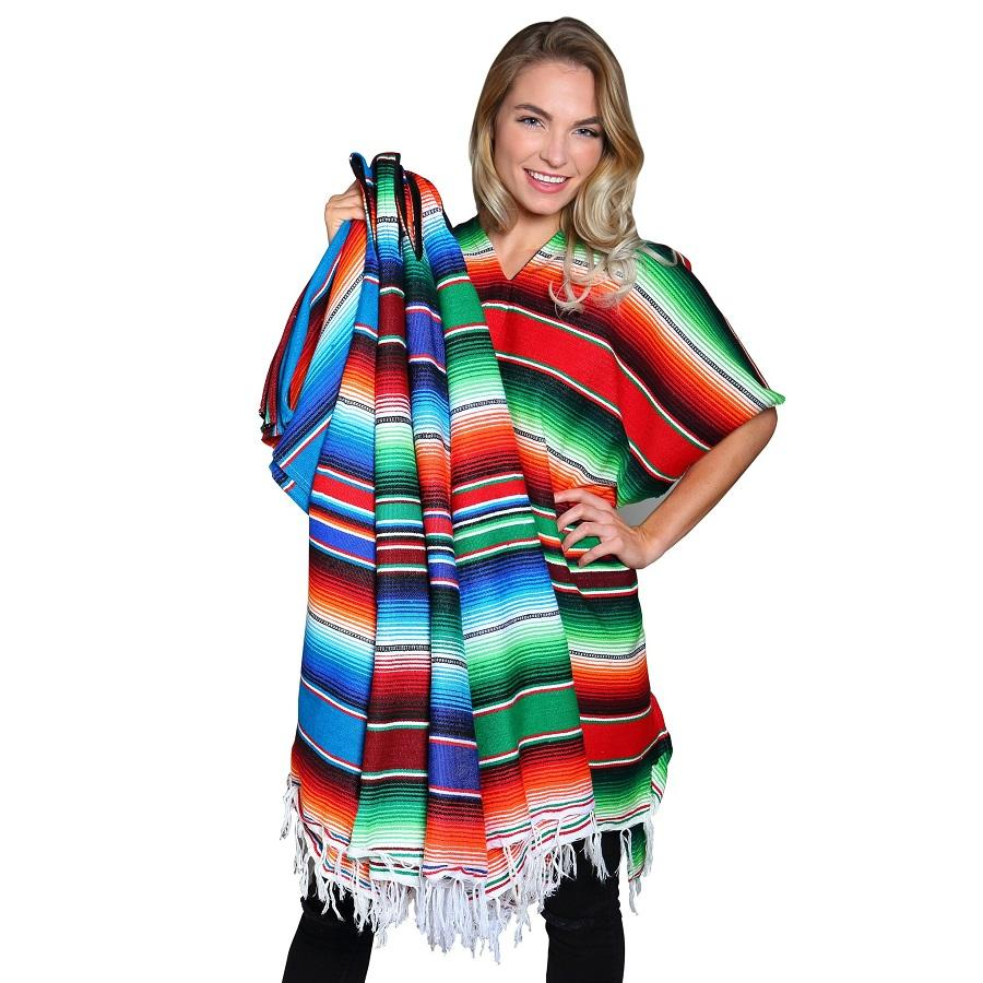 Mexican Poncho - Maroon