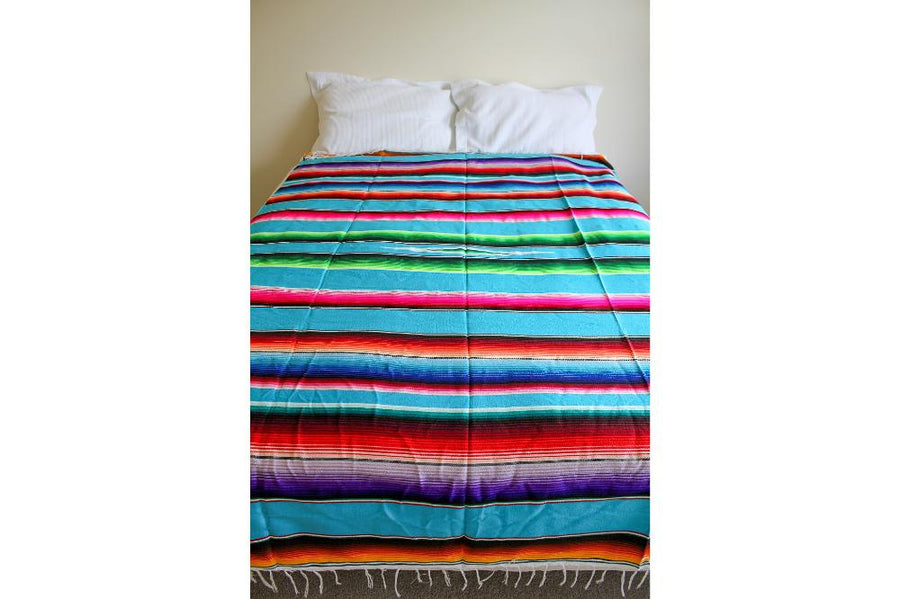 Mexican Blanket on Queen Size Bed