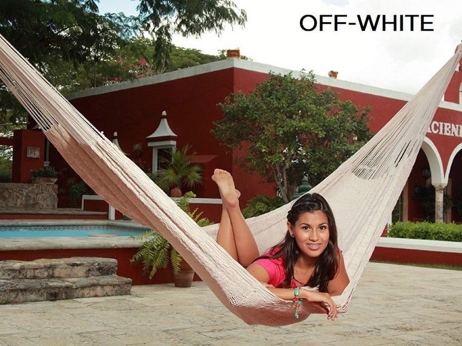 Mexican woven thick cord hammock - off-white