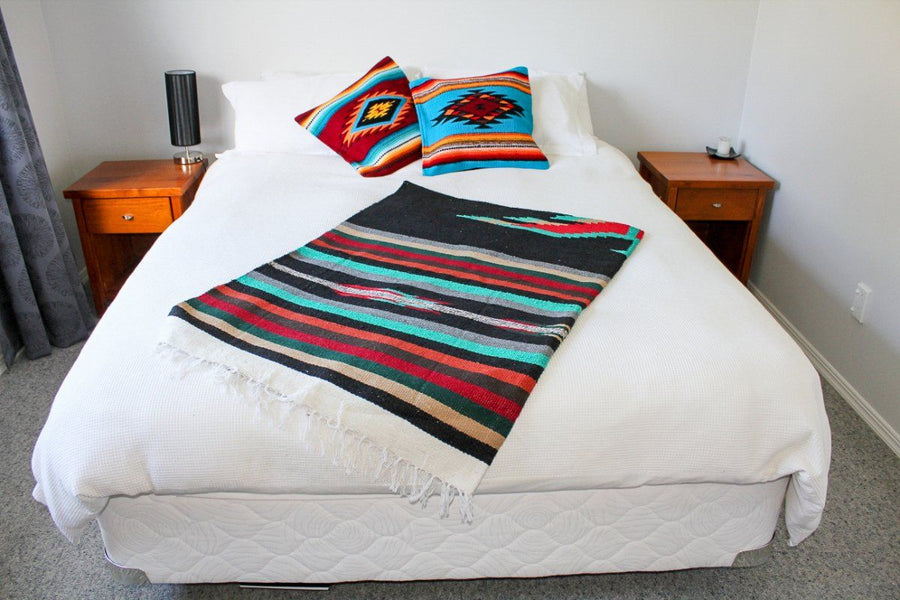 Western Style Blanket - Black and Striped - Thunderbird Center