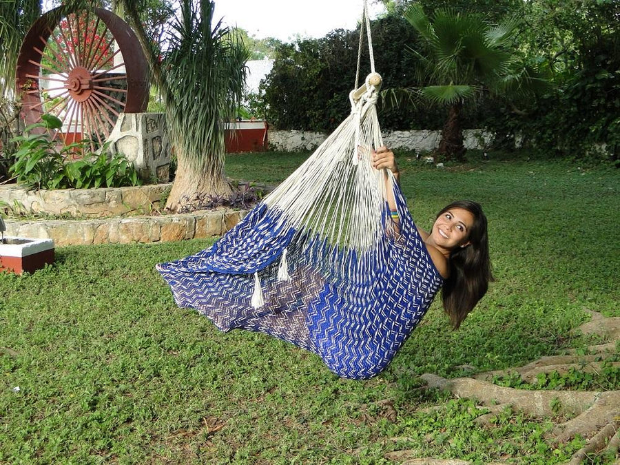 Mexican chair hammock - blue and white