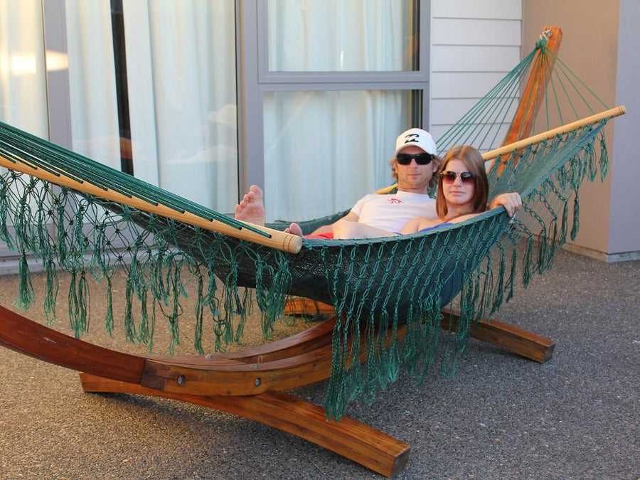 Mexican fair trade handwoven spreader bar hammock