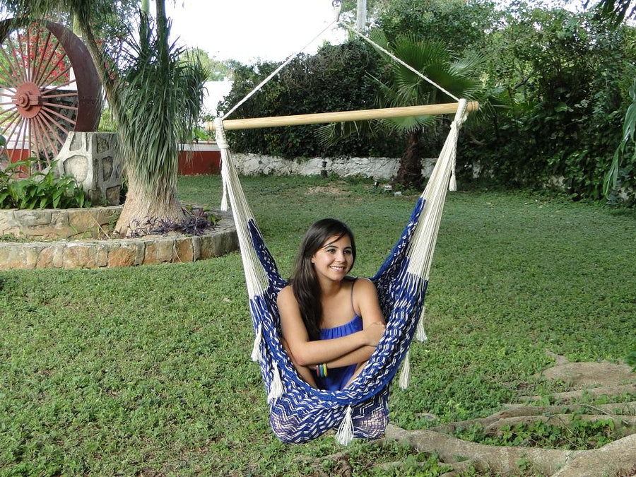 Cotton blue and white chair hammock