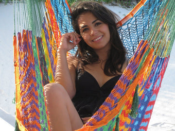 Mexican Hammock Chair - Mutli-colour - Woven Cotton