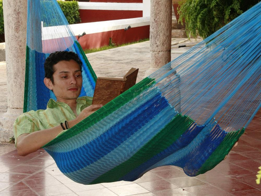 Blue and Green Cotton Mexican Handmade Hammock