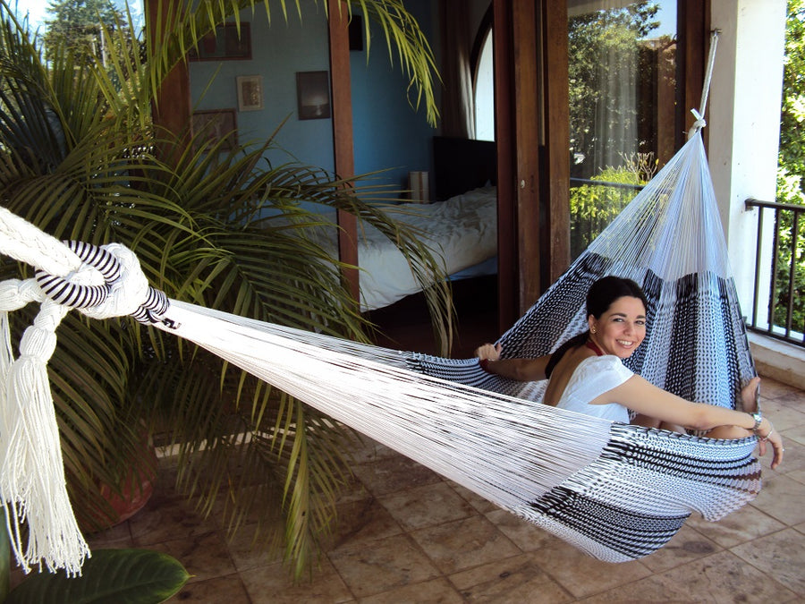 Mexican net hammock - black and white cotton